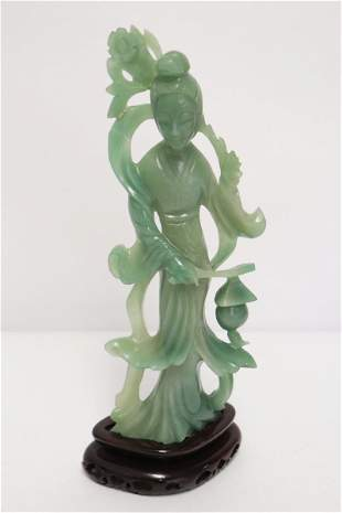 Chinese apple green jadeite carved Guanyin