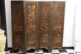 Chinese 4-panel camphor wood carved room divider