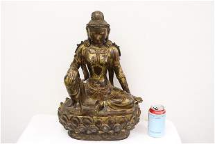 Fine Chinese large gilt bronze sculpture of deity