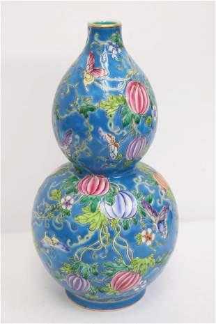 Chinese famille rose porcelain gourd shape vase