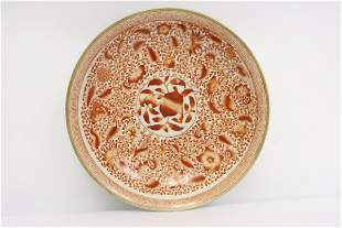 A fine Chinese red and white porcelain plate