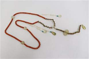 Crystal and simulated coral bead necklace