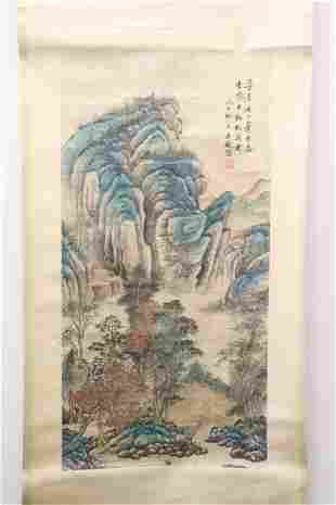 Chinese watercolor enhanced print scroll