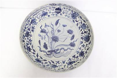 Important Chinese Ming b&w porcelain charger