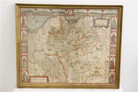 Antique map of Poland with hand coloration