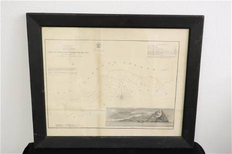 antique map of San Clemente Island, dated 1856
