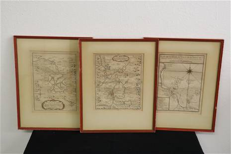 3 antique maps of Mexico, 2 dated 1754