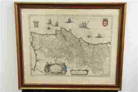 Antique hand colored map of Portugal