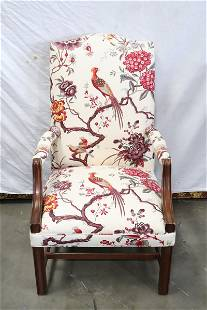 Fine armchair with floral cloth upholstery