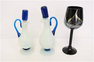 2 cologne bottles, and an art deco wine goblet