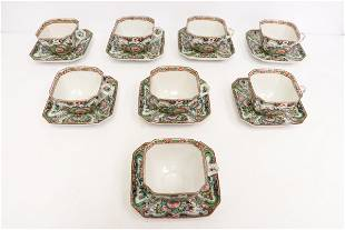 8 sets Chinese antique rose canton cups & saucers
