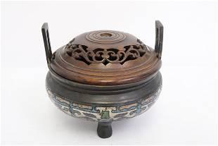 Chinese bronze censer enhanced w/ cloisonne