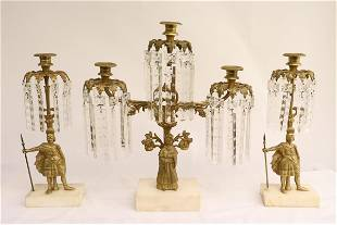 3pc Victorian gilt bronze and crystal candelabra set