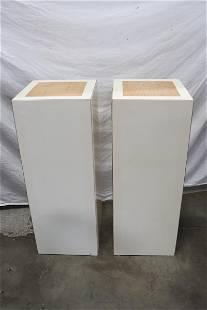 Pair modern laminated wood pedestal stands