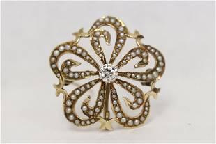 Vict. 14K pendant/ brooch w/ diamond & seed pearls