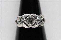 14K W/G deco diamond ring