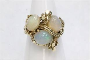 14K Y/G ring set with 3 fire opals