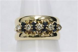 14K Y/G ring with sapphires and diamonds