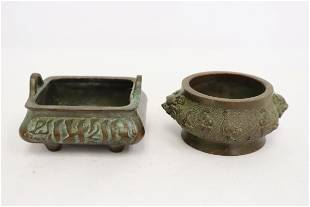 2 Chinese small bronze censers