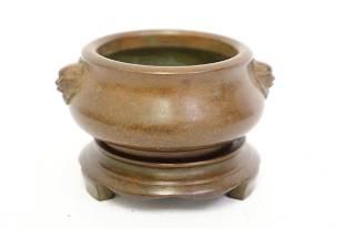 Fine bronze censer with bronze stand