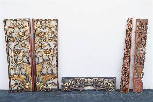 5 antique Chinese painted and carved panels