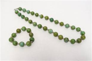 Vintage Chinese turquoise bead necklace & bracelet