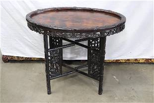 Antique Chinese rosewood oval table