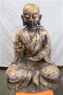 Chinese 15th/16th c. painted & gilt cast iron Buddha