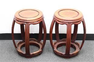Pair rosewood round drum stools