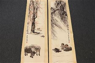 2 Chinese watercolor scrolls
