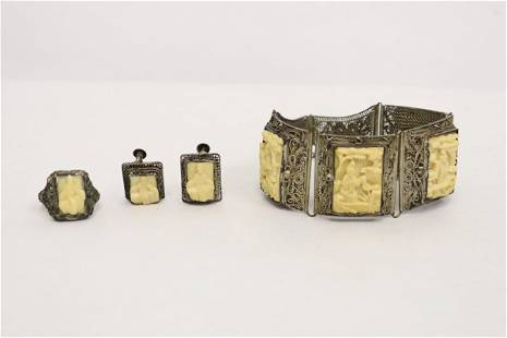 Chinese antique silver jewelry suite