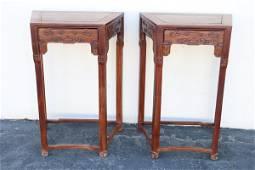Pr Chinese vintage rosewood tall pedestal w/ drawer