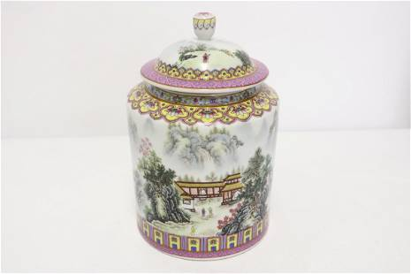 Chinese famille rose porcelain covered tea caddy