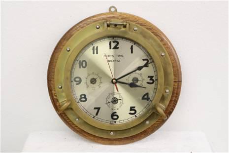 wall clock made of bronze antique ship porthole