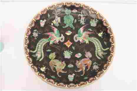 Chinese antique famille noire porcelain charger
