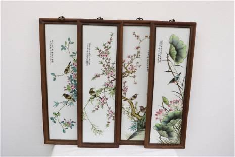 Set of 4 Chinese framed porcelain plaque