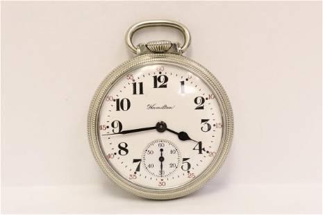Hamilton double roller 21-jewel pocket watch