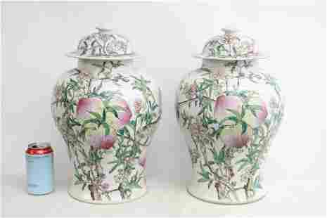 Pr Chinese large famille rose porcelain covered jars