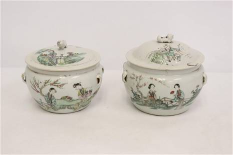 Pair Chinese vintage porcelain covered jars