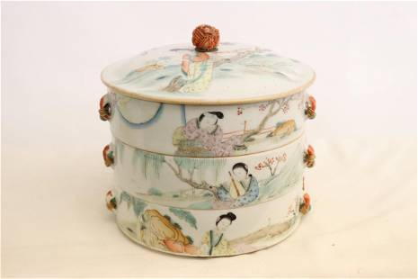 Antique Chinese famille rose stacked candy box