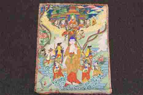 Fine Tibetan hand painted thangka