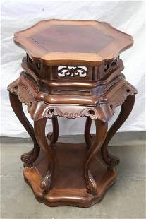 Chinese vintage rosewood pedestal table