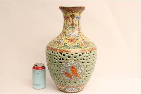 famille rose jacket porcelain vase, Qianlong mark