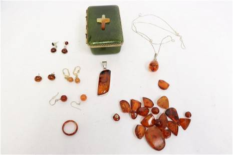 lot of amber pieces