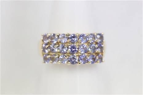 14K Y/G ring set w/ 3 rows of tanzanite like stones