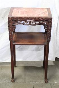 Chinese antique marble top rosewood stand