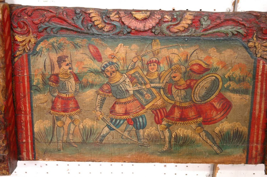 144: early 19th century painting on wood wall panel - 2