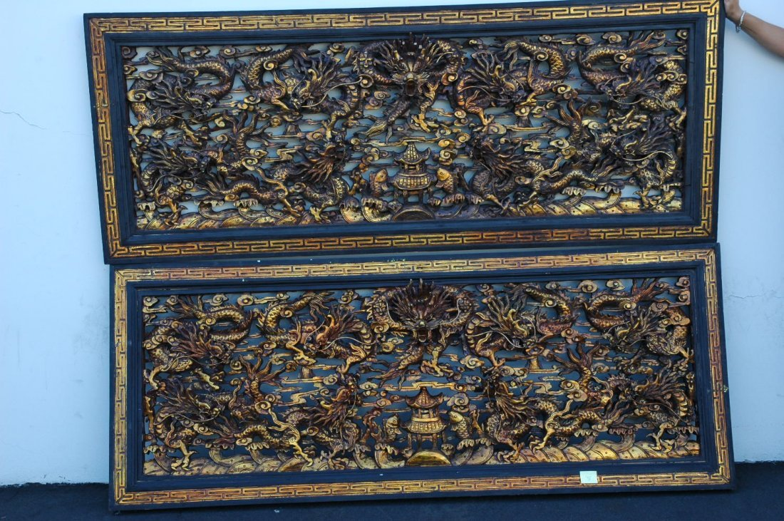 115: Pair Chinese wood carved wall panels