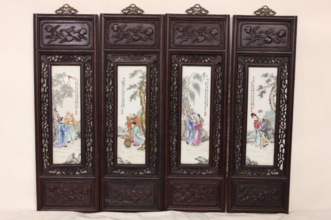 116: Set of 4 Chinese wood carved wall panels
