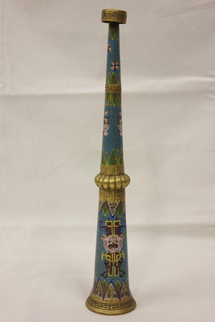 124: Vintage Chinese cloisonné trumpet